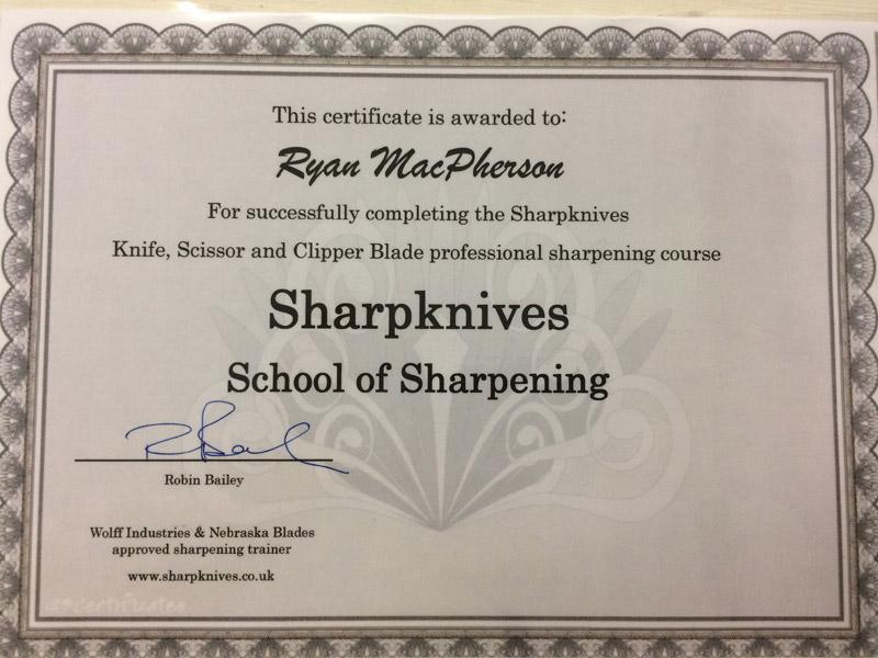 blade sharpening certificate